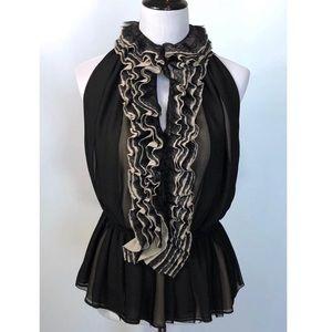 Robert Rodriguez black & cream ruffled blouse XL